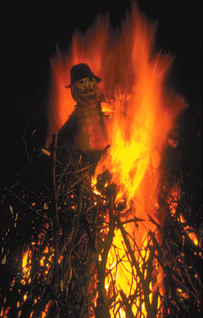 Bonfire with Effigy of Guy Fawkes