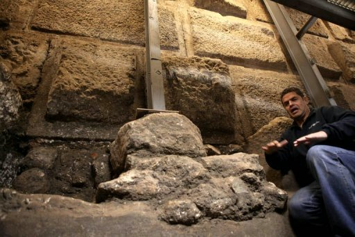 Eli Shukron sits in the Foundations of the Western Wall